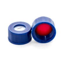 elővágott piros PTFE/fehér szilikon szeptum, 9mm kék széles szájú csavaros polipropilén kupak