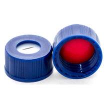 Bonded piros PTFE/fehér szilikon szeptum, 9mm kék széles szájú csavaros polipropilén kupak