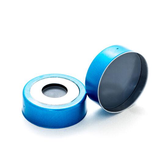 szürke PTFE/ Butyl szeptum, 20mm peremes kék mágnesezhető alumínium kupak