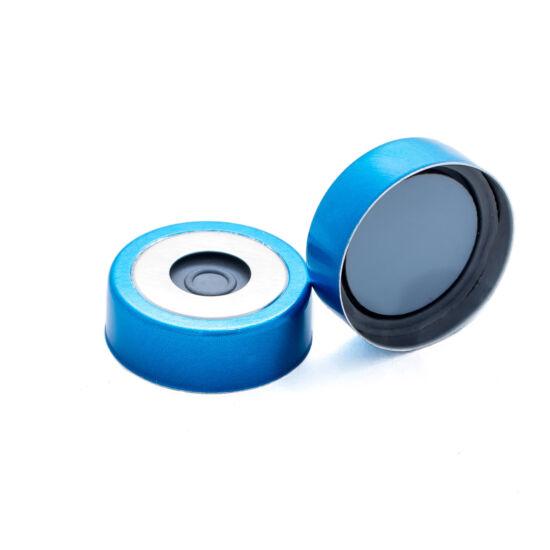 szürke PTFE/Pharma-Fix Butyl szeptum, 20mm peremes kék mágnesezhető alumínium kupak