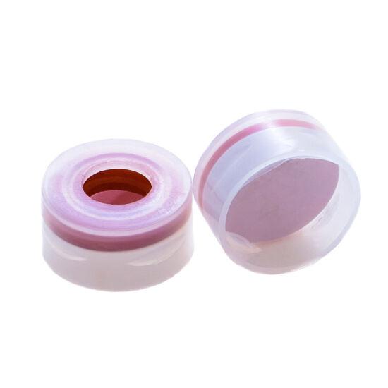 fehér PTFE/piros szilikon szeptum, 11mm natúr pattintós polipropilén kupak