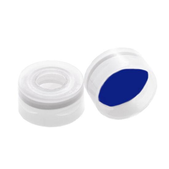 kék PTFE/fehér szilikon szeptum, 11mm natúr pattintós polipropilén kupak