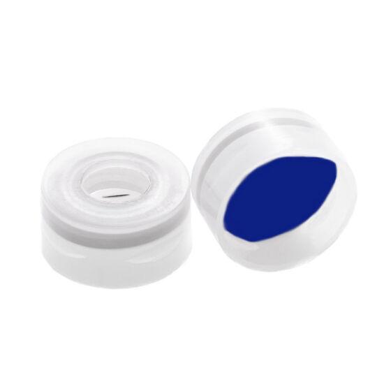 elővágott Bue PTFE/fehér szilikon szeptum, 11mm natúr pattintós polipropilén kupak