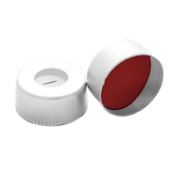 elővágott piros PTFE/fehér szilikon szeptum, 11mm peremes alumínium kupak