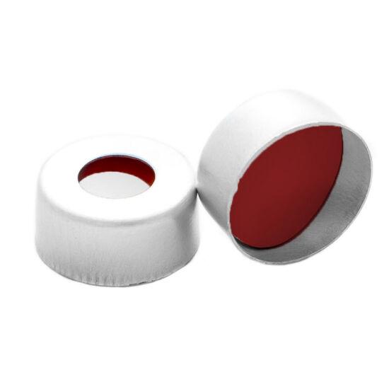 piros PTFE/fehér szilikon/piros PTFE szeptum, 11mm peremes alumínium kupak