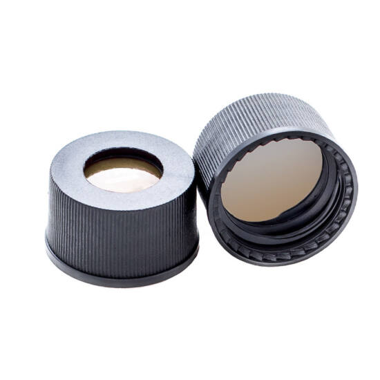 natúr PTFE/natúr szilikon szeptum, 13mm fekete csavaros polipropilén kupak