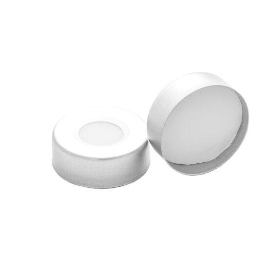 fehér PTFE/fehér szilikon szeptum, 20mm peremes alumínium kupak