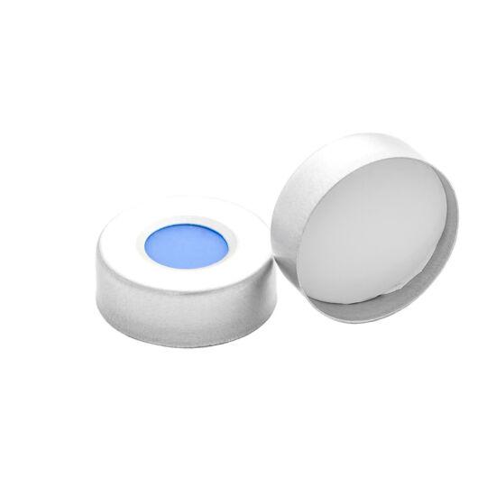 fehér PTFE/kék szilikon szeptum,  20mm peremes alumínium kupak