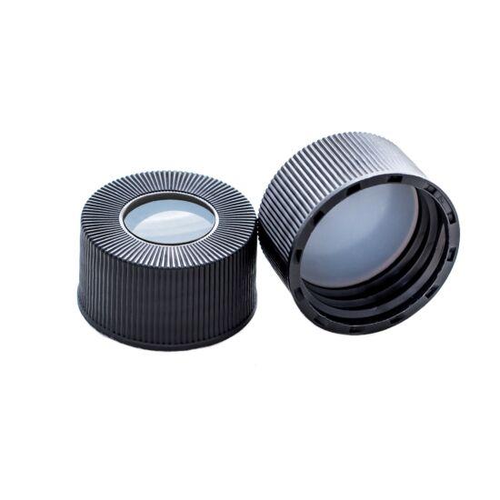natúr PTFE/natúr szilikon szeptum 22*3mm, 24mm fekete csavaros polipropilén kupak
