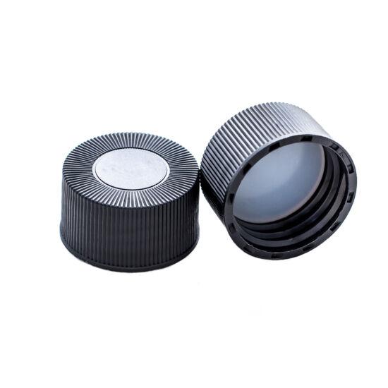 natúr PTFE/natúr szilikon szeptum 22*3mm, 24mm fekete csavaros polipropilén kupak, zárt