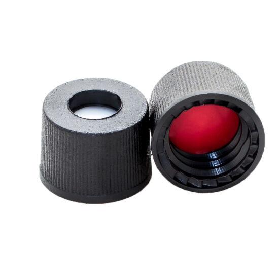 piros PTFE/fehér szilikon szeptum, 8mm fekete csavaros polipropilén kupak