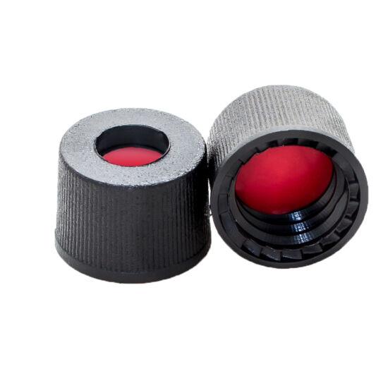 piros PTFE/fehér szilikon /piros PTFE szeptum, 8mm fekete csavaros polipropilén kupak