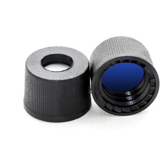 kék PTFE/fehér szilikon szeptum, 8mm fekete csavaros polipropilén kupak
