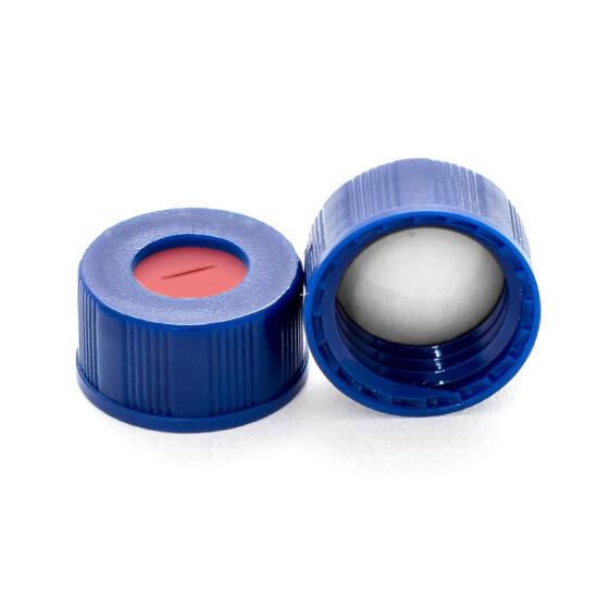 elővágott fehér PTFE/piros szilikon szeptum, 9mm kék széles szájú csavaros polipropilén kupak