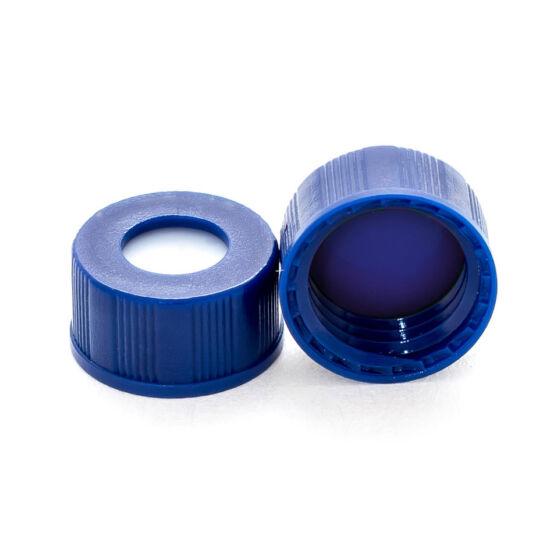 kék PTFE/fehér szilikon szeptum, 9mm kék széles szájú csavaros polipropilén kupak