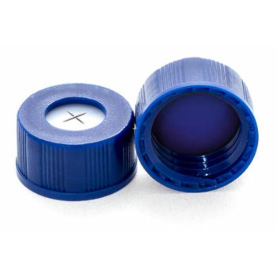keresztben elővágott kék PTFE/fehér szilikon szeptum, 9mm kék széles szájú csavaros polipropilén kupak, 6mm nyílással
