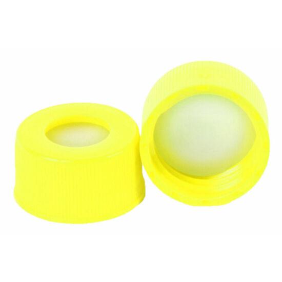 piros PTFE/fehér szilikon szeptum, 9mm sárga széles szájú csavaros polipropilén kupak